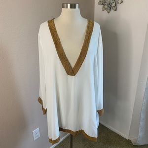 Lane Bryant NWT 26/28 Sheer Blouse with Lace